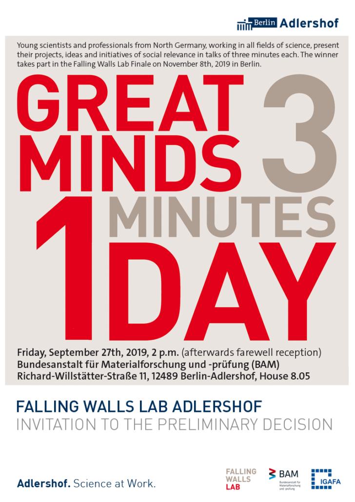 Falling Walls Lab Adlershof @ Bundesanstalt für Materialforschung und -prüfung (BAM), Gebäude 8.05 / Raum 201/202